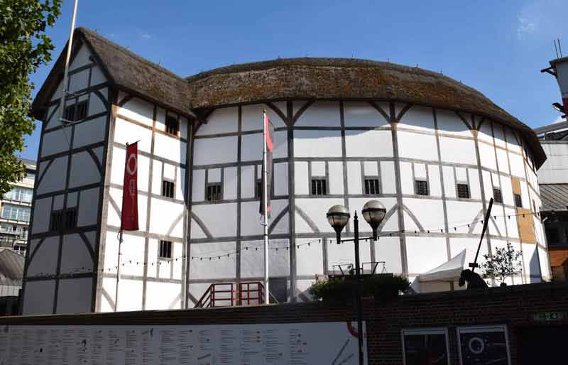 Exterior of the timber framed Shakespearian building.